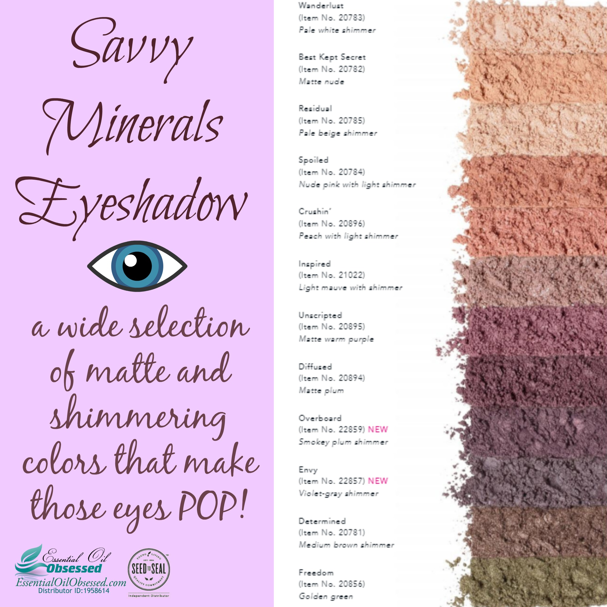 Savvy Minerals cosmetic colors for 2018!